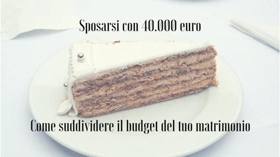 suddividere budget del matrimonio